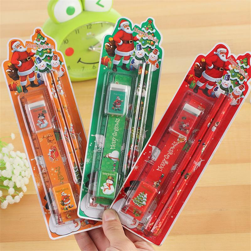 Novelty Korean Merry Christmas Stationery Set 5 in 1 Pencils Ruler Eraser Pencil Sharpener Santa Claus Gifts Kids Student Supply