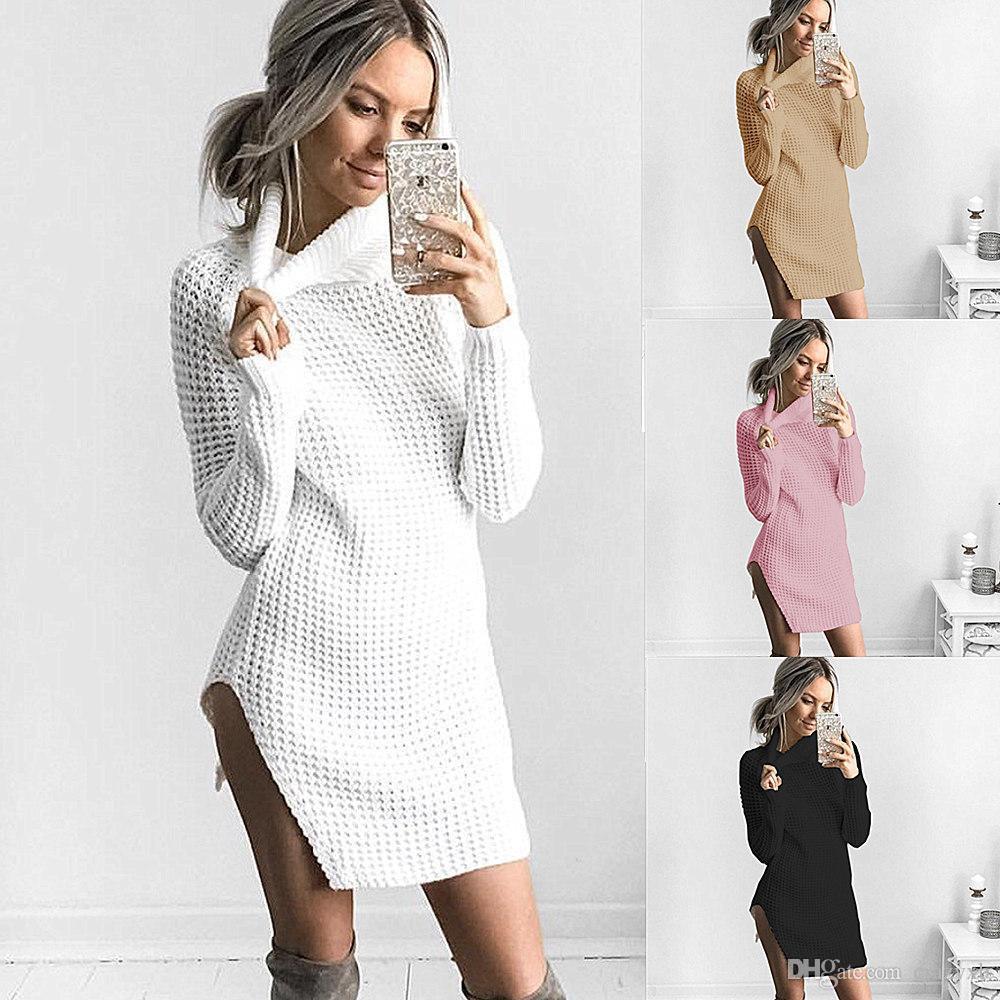 54b0b37e9eeb 2018 New Autumn Winter Fashion Women Clothing Casual Long Sleeve White  Black Dresses Loose Plus Size Mini Split Sweater Dress Dressing Styles For  Ladies ...