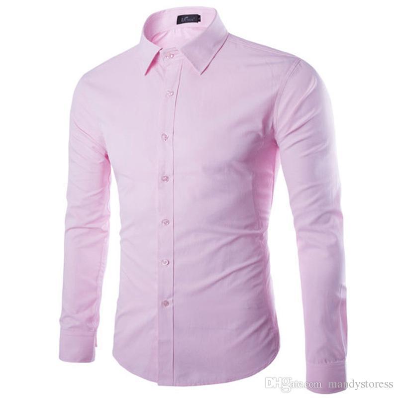6df3c74e8f Compre Al Por Mayor Marca Rosa Camisa Hombres Chemise Homme Moda Diseño  Manga Larga Slim Fit Negocios Para Hombre Camisas De Vestir Causales Color  Sólido ...
