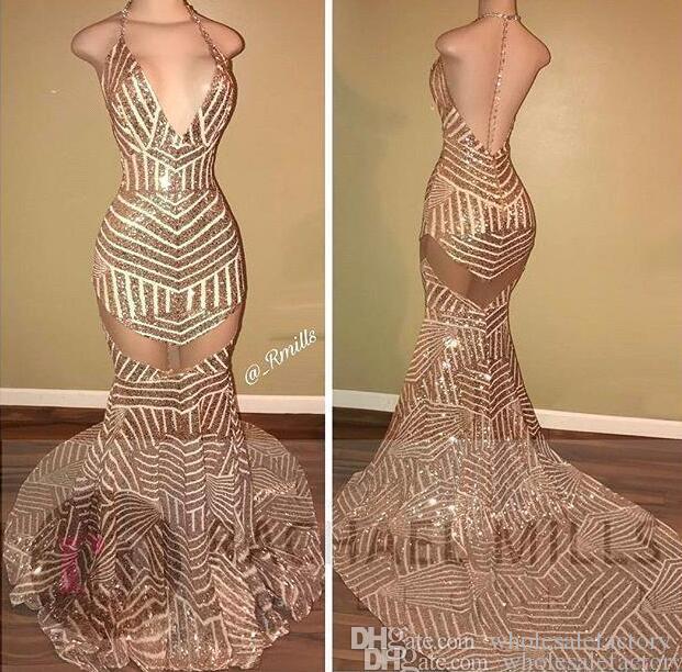 Golden Sequin Mermaid Evening Dresses