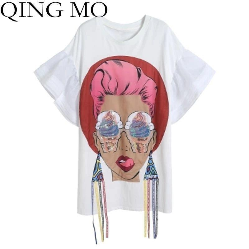 QING MO 2018 Estate Donna Paillettes magliette Cartoon Head Pattern Nappa Flare manica T-Shirt femminile Stampa t Shirt 3D Top KN001Y1882902