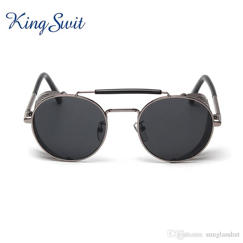Kingswit Retro Steampunk Sunglasses Men Round Metal Frame Sunglasses ...