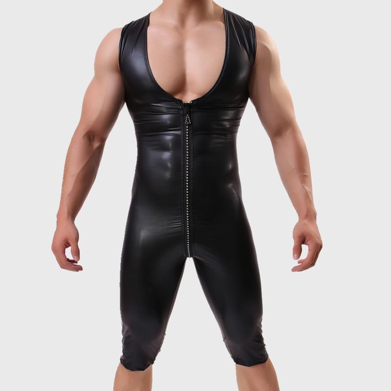 8f3865835d488 Sexy Men s One-Piece Skinny Underwear Zipper Piece Suit Leather ...