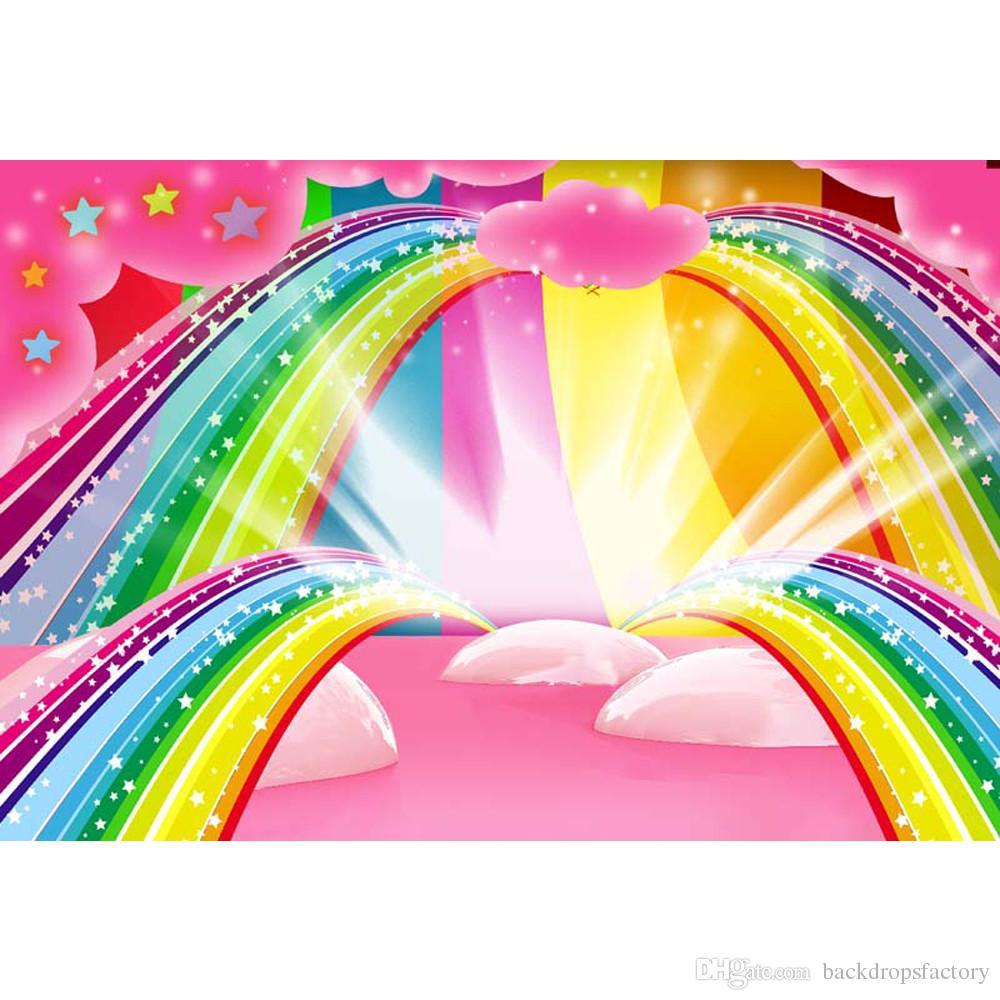 Acquista Sfondo Colorato Arcobaleno Fotografia Stampato Stelle Rosa