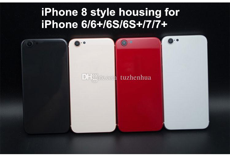 For iPhone 6 6S 7 Plus Back Housing Like iPhone 8 Style Battery Door Black  Red Metal Glass Rear Cover with Side Buttons