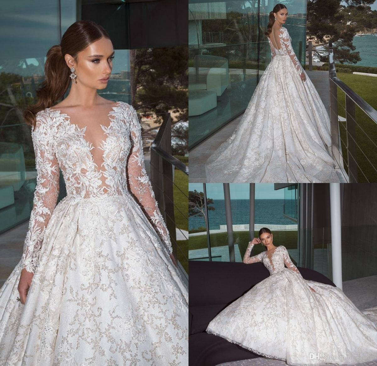 6a96789c5ad Discount 2019 New Arrival Wedding Dresses V Neck Lace Appliques Beads Sweep  Train Gorgeous Country Bridal Gowns Long Sleeve Wedding Dress Plus Size Top  Of ...