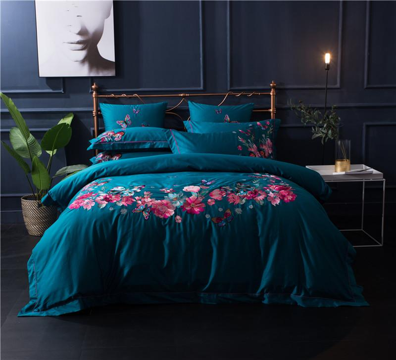 Luxury Royal Bedding Set 100s Egyptian Cotton Bed Sheet Set King Queen Size Chinese Embroidered Bed Duvet Cover Pillow Shams