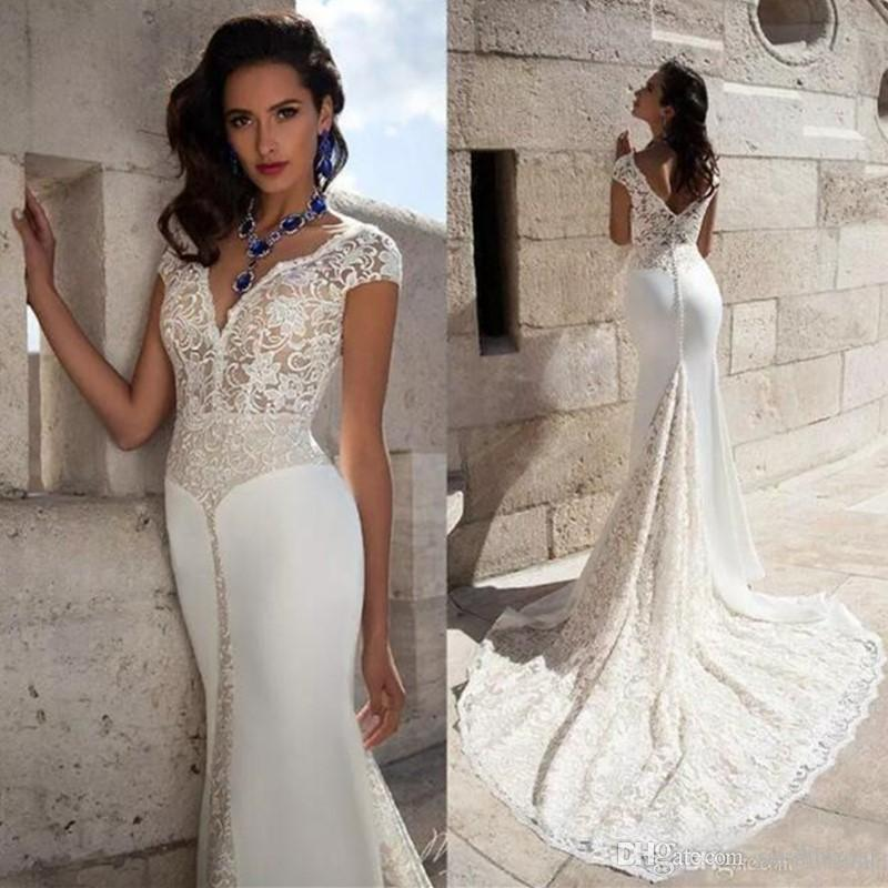 dbc676344020 2018 Sexy V Neck Wedding Dresses Cap Sleeves Lace Mermaid Bridal Gowns  Illusion Bodice V Back Button Covered With Chapel Train Wedding Gowns  Backless ...