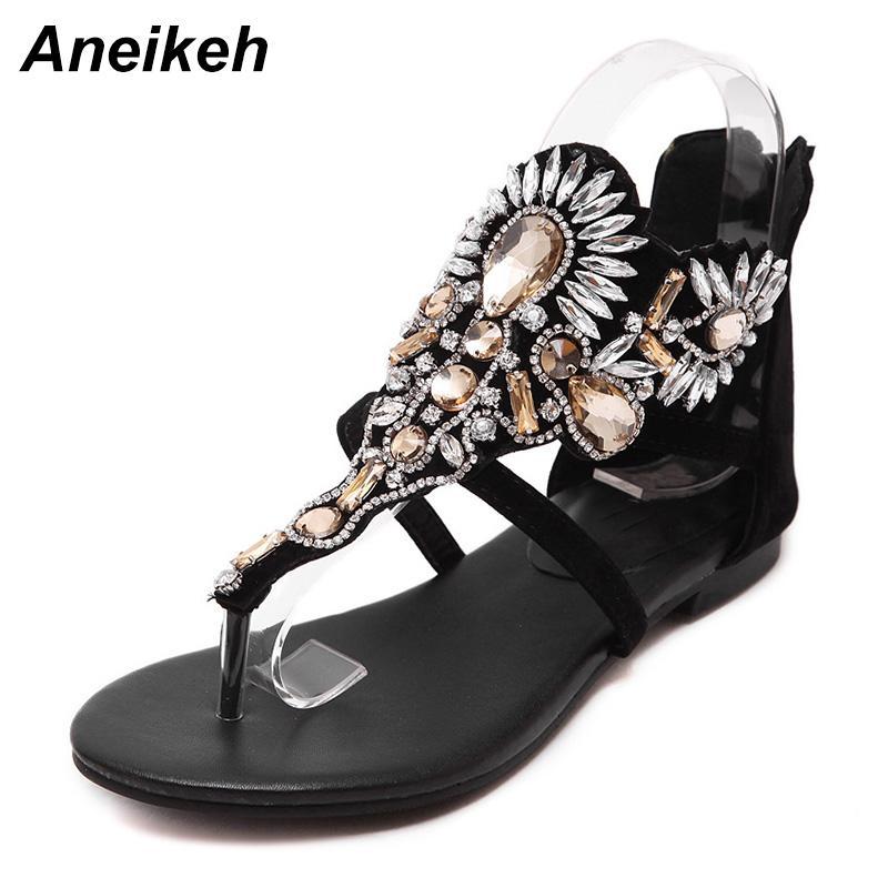 440515b12444 Wholesale Rhinestone Luxury Diamond Roma Women Sandal Designer Brand High  Quality Buckle Strap Female Flat Sandals Size 35-40 Online with  50.11 Pair  on ...