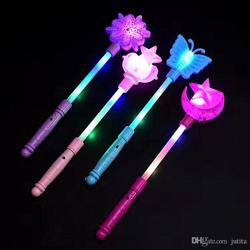 New Fashion Children Girls Princess Led Light Up Butterfly Magic Wand Sticks Flashing Glowing Sticks Party Cosplay Costume Props Halloween Costumes & Accessories