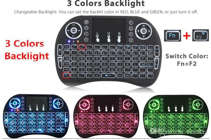 Rii Mini i8 Wireless Keyboard Backlit Bluetooth Keyboards Touchpad game Fly Air Mouse Remote Control Multi-media Handheld with retail box