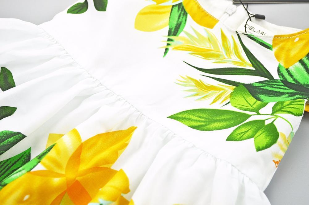Cielarko Girls Dress Cotton Flower Kids Dresses Leaf Printed White Children Casual Frocks Baby Party Clothing for Girl