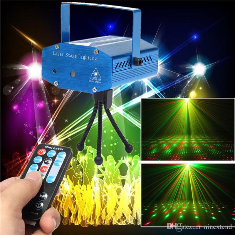 led projector laser lights mini sound activated auto flash stage lights for disco dj club party wedding show strobe light with remote c