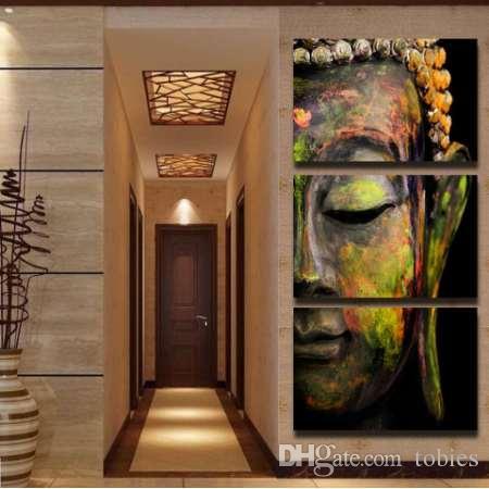 Grosshandel Buddha Malerei Wandkunst Malerei Bild Paiting 3 Panel