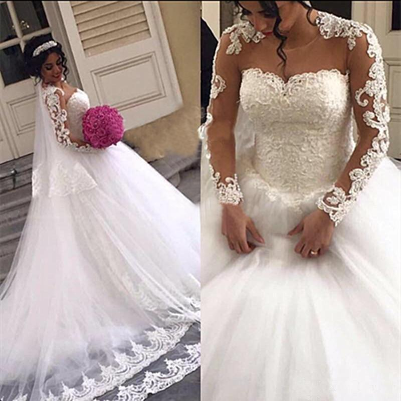 Cute Wedding Gown: Gorgeous Lace Ball Gown Wedding Dresses Long Sleeves Sheer