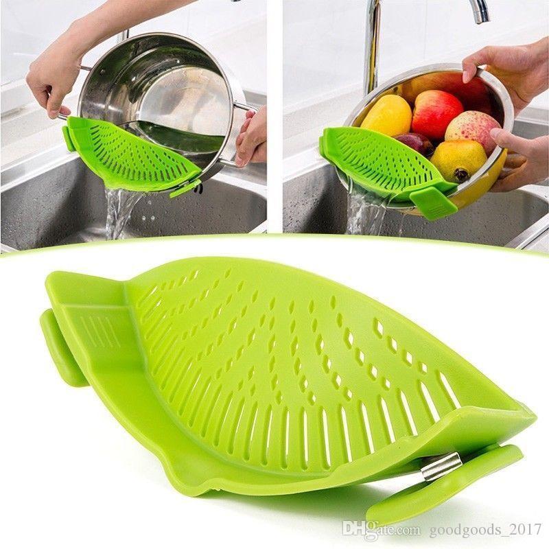 es Cocina Colador de silicona Herramientas de cocina Comida Limpia Clip-On Snap Líquido Separador Coladores Coladores mk408