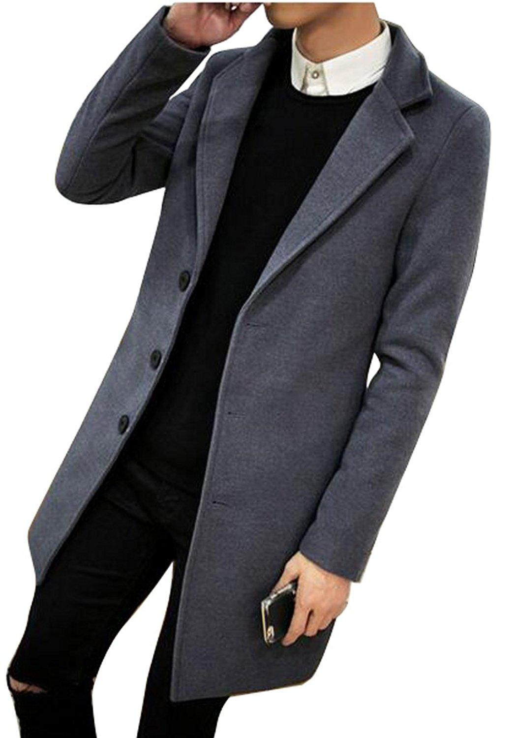 2019 Mens Casual Single Breasted Slim Fit Wool Blended Pea Coat Long