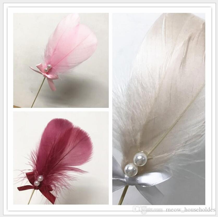 2018 New Hot Pearl Multiple colors Feather Plug Cake Flags Plug Card Decor Supplies For Wedding Festival Party Baby Shower Cupcake plug-in