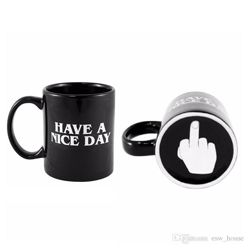 Creativo ha una tazza di caffè piacevole di giorno 350ml tazze divertenti del dito medio il latte di tè del caffè i regali di compleanno della novità Trasporto libero