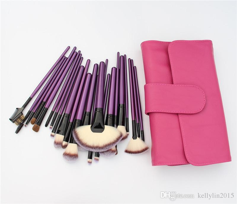 24-tlg Make-up Pinsel-Sets Professionelle Schwarz Blau Lila Comestic Make-up Pinsel Kit Puder Lidschatten Foundation Pinsel mit Ledertasche