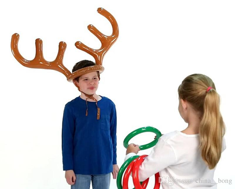 Inflatable Reindeer Christmas Hat Antler Ring Toss Holiday Party Game Toys Reindeer Antler Hat With Rings Hats Party Supplies
