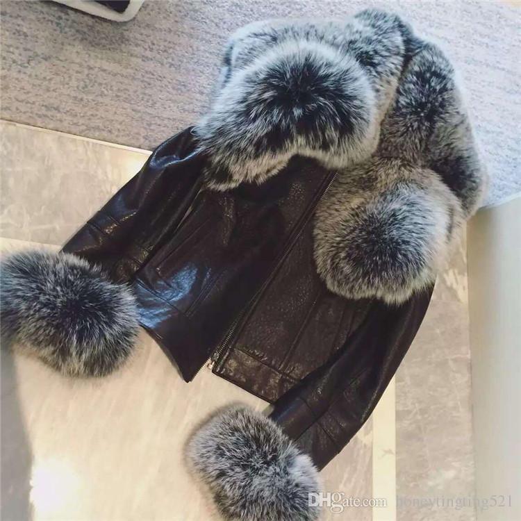 Nuevo diseño de moda para mujer cuello de piel de zorro faaux manguito de piel PU chaqueta corta de cuero abrigo casacos más tamaño XXL