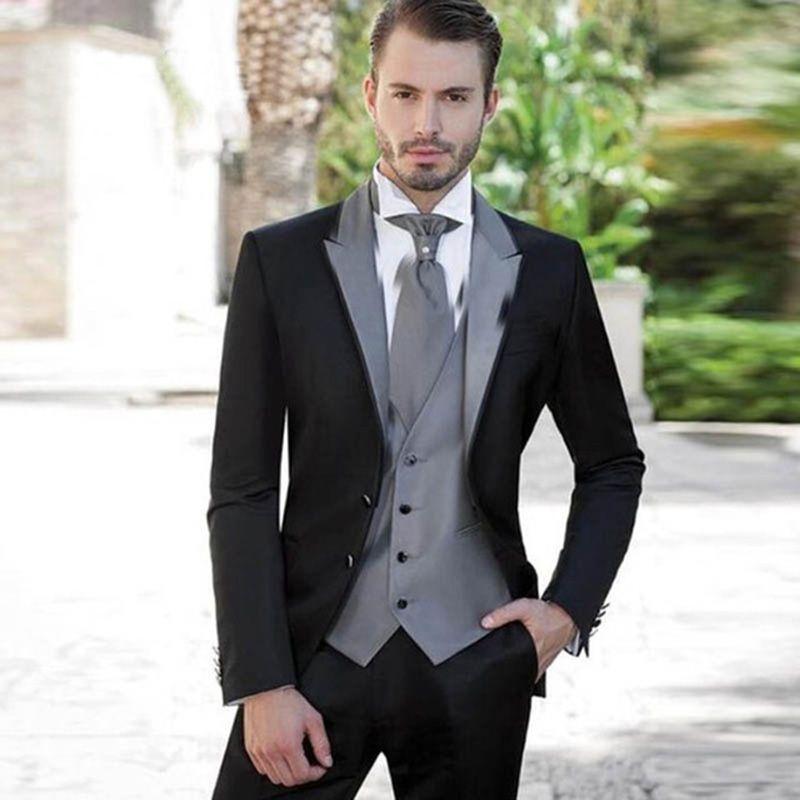 9f424af9740b1 Compre Por Encargo 2018 Negro Trajes Para Hombre Gris Solapa De Plata Trajes  De Boda Para Hombres Slim Fit Novio Esmoquin Chaqueta + Pantalones +  Chaleco ...