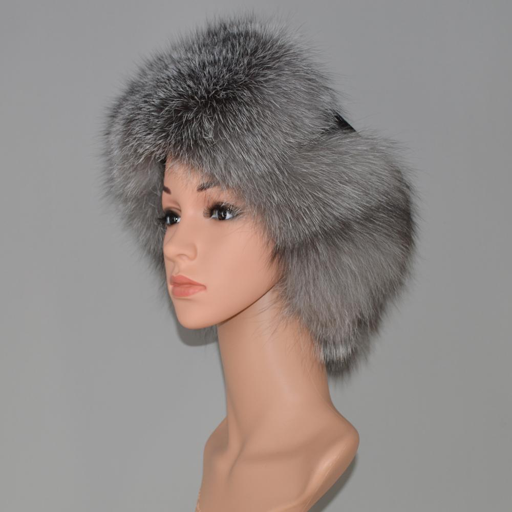 aba02aeec New Russia Natural Fox Fur Hat DIY Fashion Winter Warm Raccoon Fox Fur  Bomber Hat With EarFlaps For Women Thick And Warm Cap
