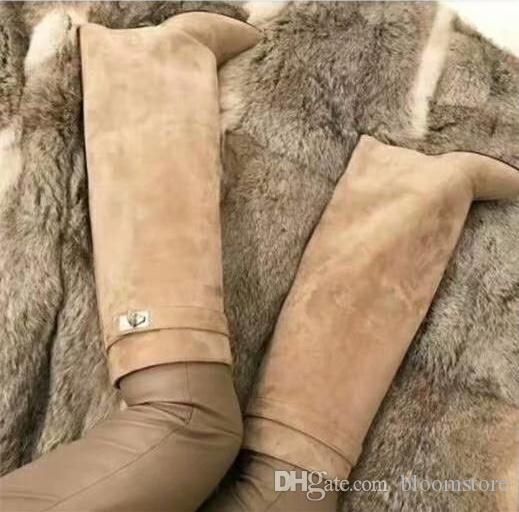 Classic Suede Womens Long Boots Silver Shark Lock Knee High Boots Large  Size Pointed Toe Pumps Motorcycle Booties High Heeled Shoes Canada 2019  From ... 1926378226