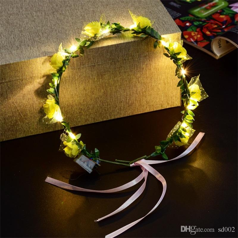 새 스타일 LED 꽃 화환 웨딩 드레스 머리 화환 신부 신부 들러리 꽃 크라운 하와이 해변 휴일 장식 액세서리 3 Yt YY