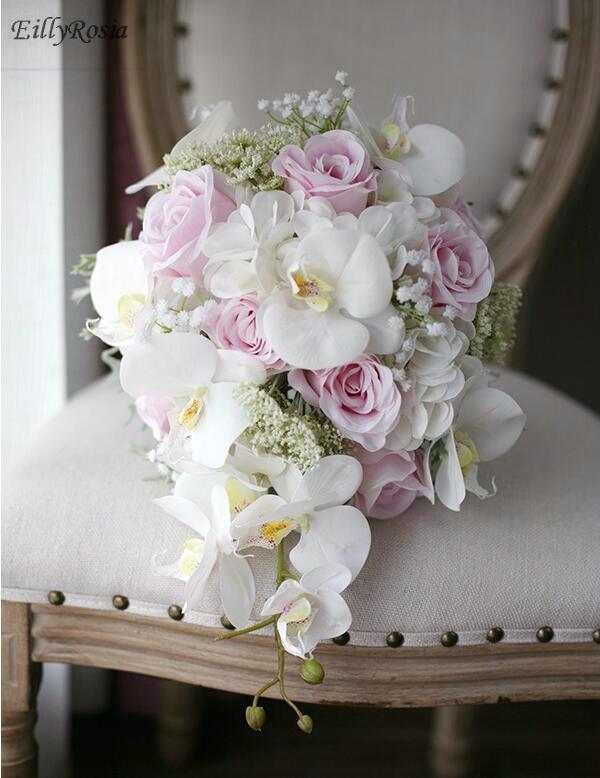 Bouquet Da Sposa Orchidee.Romantico Avorio Rosa Bouquet Da Sposa Cadenti De Mariage Rose Orchidea Fiore Di Seta Artificiale Bouquet Da Sposa 2018 Ramo De Flores