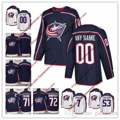 Custom Columbus Blue Jackets ice hockey jerseys men s 2018 AD hockey  cutomized Jersey any name any number stitched jersey free shipping 8f33ece9180
