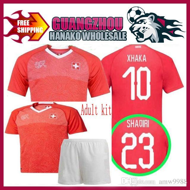 ee0a36264 2019 Switzerland Home Soccer Kits Adult Thai Quality Football Suits 18 19  Xhaka Lichtsteiner Shaqiri Football Uniform World Cup 2018 Swiss Set From  Amw9988