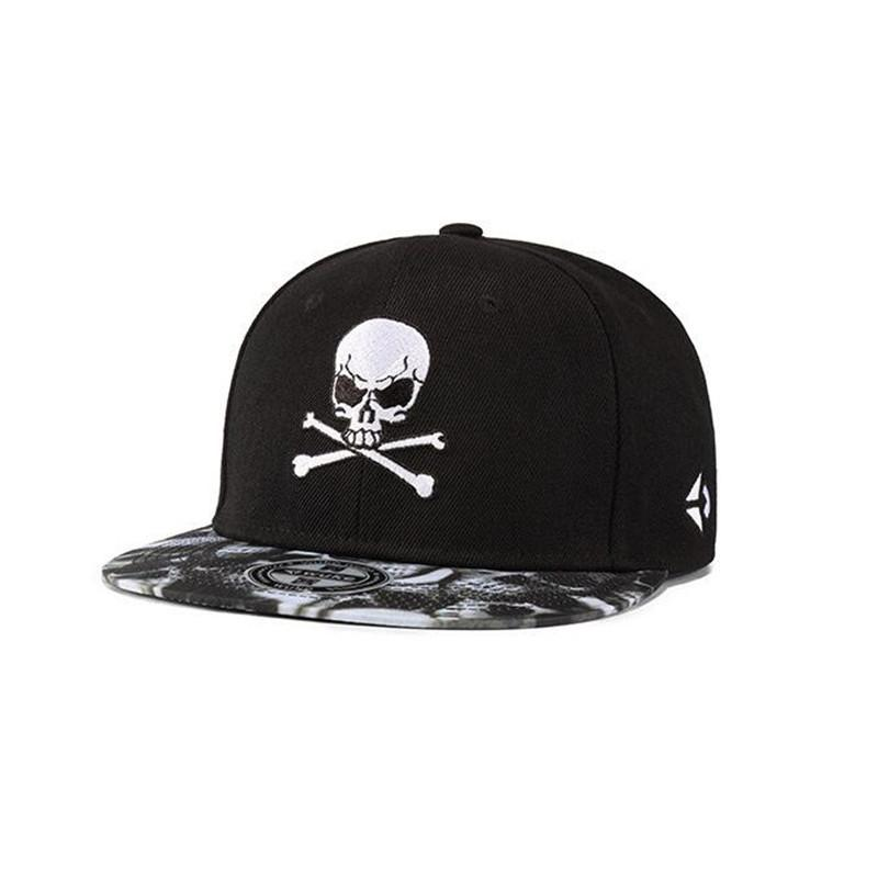 722dde26ab38f Black Embroidery Skull Snapbacks Adjustable Hip Hop Skeleton Mens Snapback  Hats Street Dancing Skateboard Women Baseball Caps Drop Shipping Flexfit  Cap Ny ...
