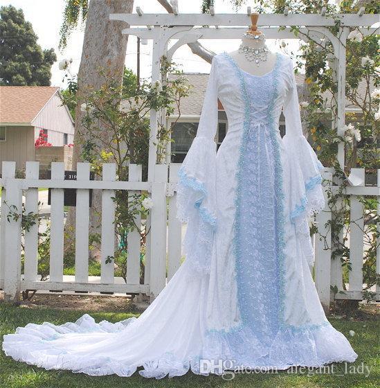 Narnia نمط فيكتوريا المخملية والدانتيل الخيال القرون الوسطى الجنية ثوب الزفاف مخصص 2018 الضوء الأزرق الدانتيل متابعة جرس طويل الأكمام فساتين الزفاف