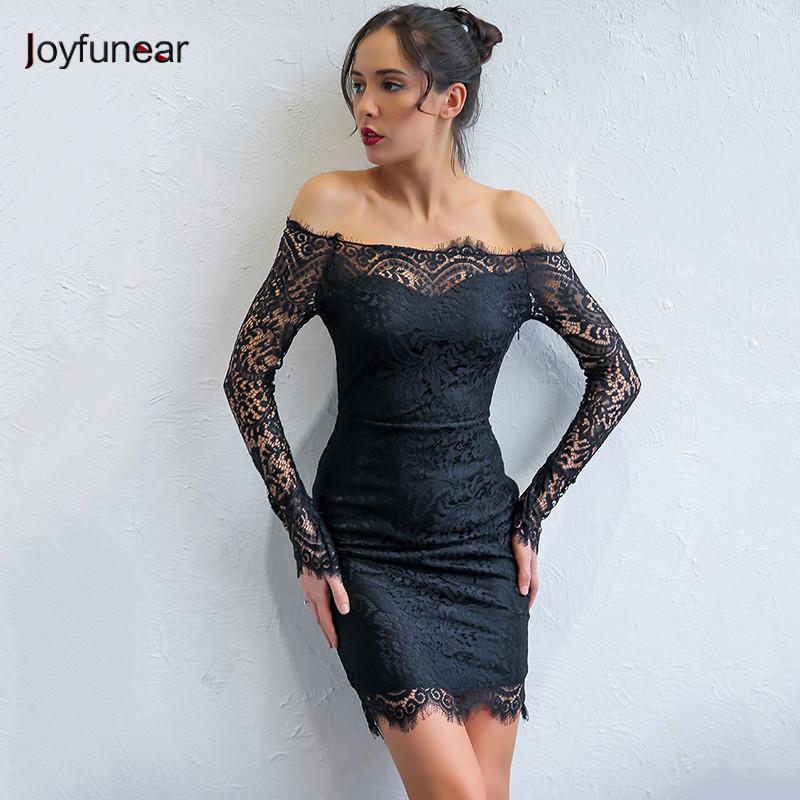 Großhandel 20187 Joyfunear Damen Elegantes Partykleid Sexy Trägerloses  Ärmelloses Kleid Damen Mantel Bodycon Spitzenkleid Kurze Vintage Lady  Vestidos Von ... 2c0d0b4734