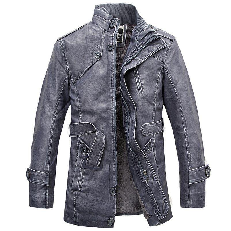 sports shoes 809a4 b4f0b Giacca in pelle da uomo in lana di lana lunga Giacche da uomo Cappotto  caldo Outwear parka mens PU giacche e cappotti in pelle
