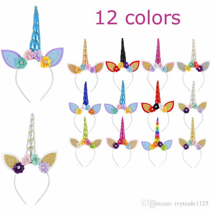 diadema de unicornio 12 estilos nuevos Niñas Unicornio con oreja con estéreo accesorios para el cabello de flores Princesa Halloween Carnaval Cabello palos aro