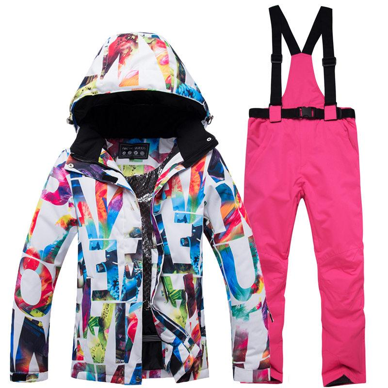 1fab9ccd8 New Cheap Women ski gear snowboarding suit sets waterproof windproof winter  Snow Costumes jacket and bibs pant best Ski suit Hot