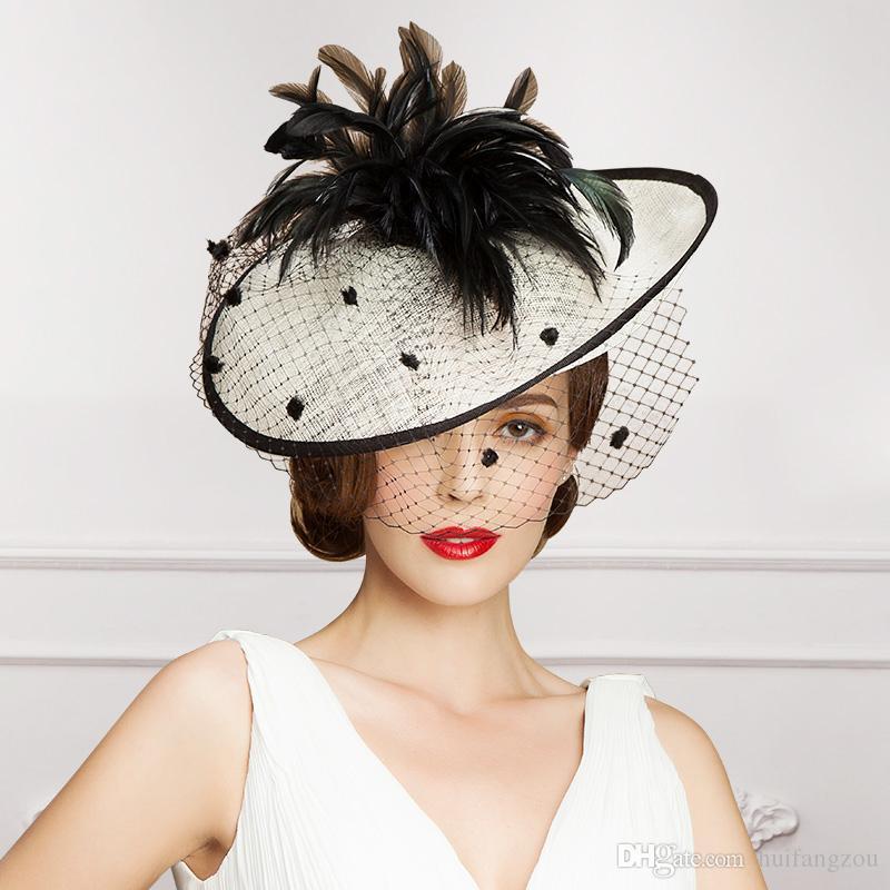 Vintage Lady schwarz und Elfenbein Hut perfekte Vogelkäfig Kopfschmuck Kopf Schleier Feder Hochzeit Braut Accessoires Party Frauen Braut Fascinator Hut