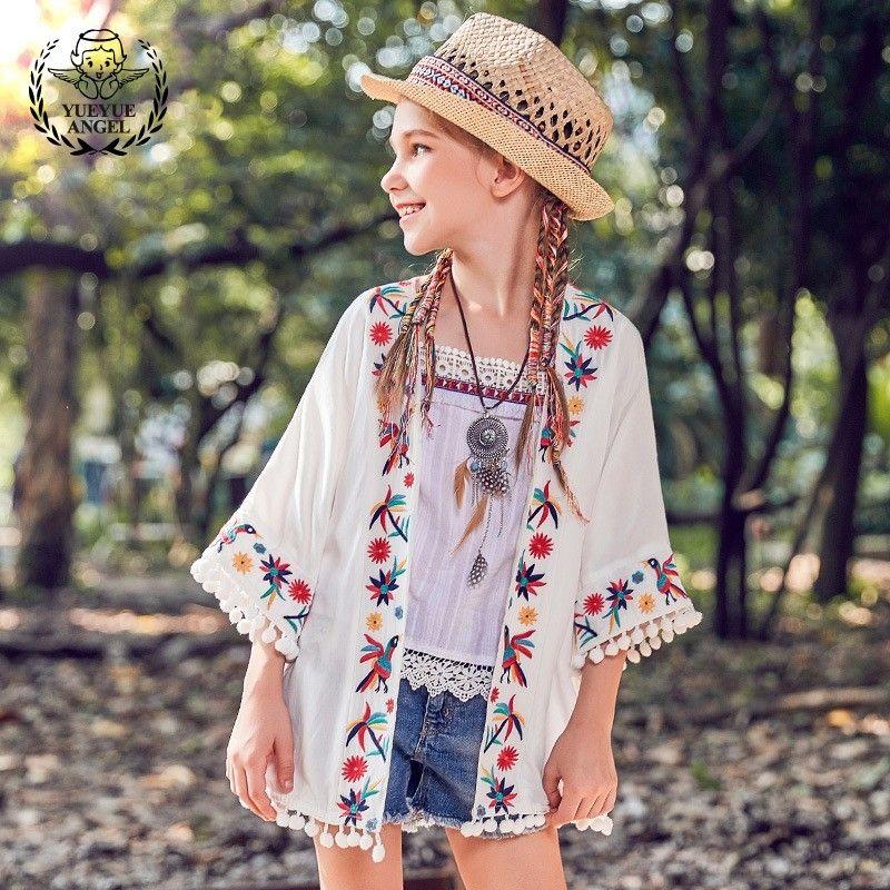 29b5e3903 2018 New Boho Floral Embroidery Summer Beach Cloak Coat Open Stitch White  Jacket Big Size Pompom Flare Sleeve Cape Outwear Coats Childrens Puffa  Jackets ...
