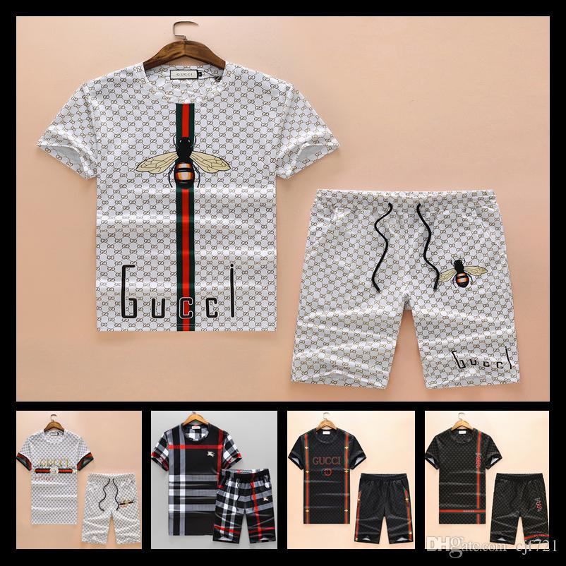 190839c90df1 2019 2018 Luxury Designer Brand Summer For Men Clothes Embroidery Wolf  Letter Black Tracksuits T Shirt Shorts Shirt From Cjf721