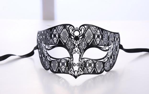 Hombres Máscara de fiesta de metal Hombres Fumadores Negro Filigrana veneciana Máscara de disfraces Bola enmascarada Accesorios de rendimiento de escenario de Navidad de Halloween