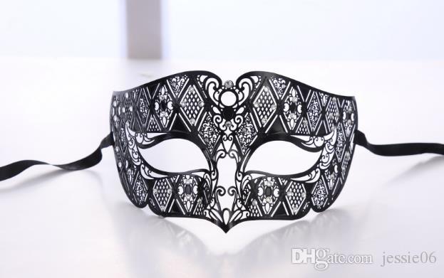 Men Metal Party Mask Mens Smoking Black Venetian Filigree Masquerade Mask Masked Ball Halloween Christmas stage performance props