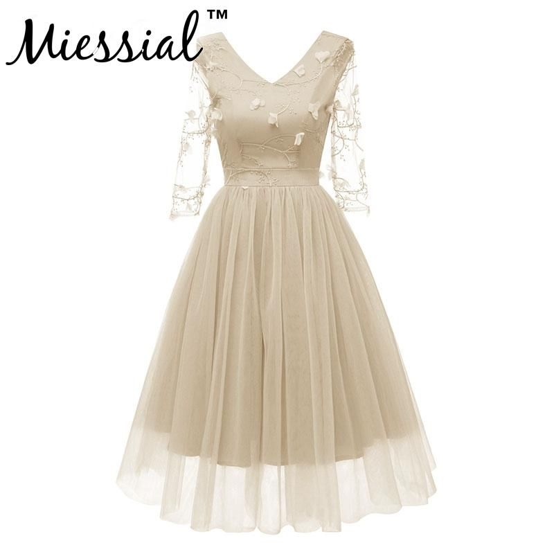 300f8aa9db9b35 2019 Miessial Women Dress Formal Lace Dress Prom Flower Embroidery Party  Wedding Gown Half Sleeve Midi Dresses Appliques V Neck From Mangcao