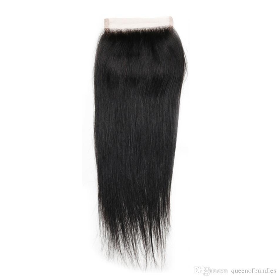 4x4 Lace Closure Straight 10 bundles Brazilian Peruvian Malaysian Indian Lace Closure Malaysian Human Hair Straight Swiss Lace closure