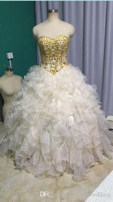 2018 Quinceanera Ball Gowns Gold Beaded Ruffles Sweet 16 Teens Birthday Party Dresses Masquerade Prom Dress Real Photo