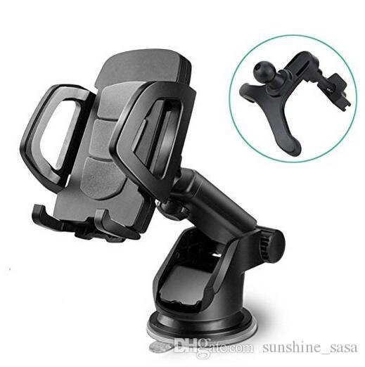 Car Phone Holder, Universal Windshield Dashboard Vent Cell Phone Cradle Mount for Smartphone, Mobile Phone, Cellphone Black