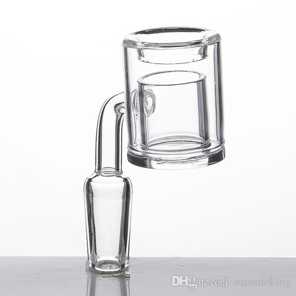 4mm extra-épais fond thermique banger double tube quartz thermosoudable clou pour tuyaux d'eau en verre bongs de verre en gros