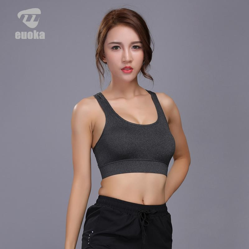 702a41160eb56 2019 EUOKA Women Sports Bra Yoga Shirt With Padding Push Up Dry Quick Tank  Tops For Running Fitness Gym Bras From Sunnystars